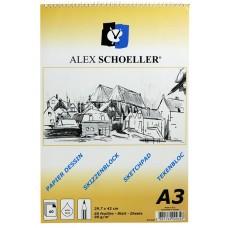 Alex Schoeller ALX-822 A3 Eskiz Spiralli Blok Defter 60 Yaprak 90 Gr./m²