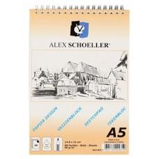 Alex Schoeller ALX-821 A5 Eskiz Spiralli Blok Defter 60 Yaprak 90 Gr./m²