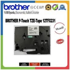 Brother P-Touch 12TFX231 MUADİL TZE-TAPE 12 MM Beyaz üzerine Siyah Esnek Laminasyonlu Etiket