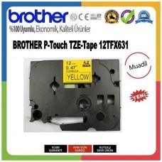 Brother P-Touch 12TFX631 MUADİL TZE-TAPE 12 MM Sarı üzerine Siyah Esnek Laminasyonlu Etiket