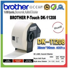 BROTHER DK-11208 P-Touch MUADİL DK Serisi Geniş Adres Etiketi (38mmx90mm) (400 Adet/Rulo)