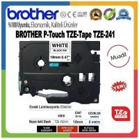 Brother P-Touch TZE-241 MUADİL TZE-TAPE (18mm X 8m) Beyaz üzerine Siyah Standart Laminasyonlu Etiket