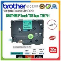 Brother P-Touch TZE-741 MUADİL TZE-TAPE (18mm X 8m) Yeşil üzerine Siyah Standart Laminasyonlu Etiket
