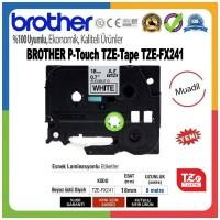 Brother P-Touch TZE-FX241 MUADİL TZE-TAPE (18mm X 8m) Beyaz üzerine Siyah Esnek Laminasyonlu Etiket