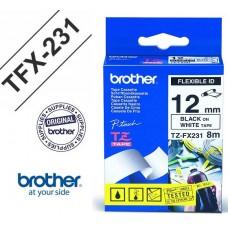 Brother P-Touch 12TFX231 TZE-TAPE 12 MM Beyaz üzerine Siyah Esnek Laminasyonlu Etiket