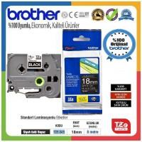 Brother P-Touch TZE-345 TZE-TAPE 18 MM Siyah üzerine Beyaz Standart Laminasyonlu Etiket