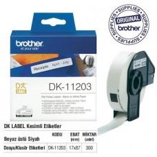 BROTHER DK-11203 P-Touch DK Serisi Dosyalama Etiketi (17mmx87mm) (300 Adet/Rulo)