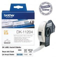 BROTHER DK-11204 P-Touch DK Serisi Çok Amaçlı Etiketi (17mmx54mm) (400 Adet/Rulo)