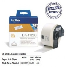 BROTHER DK-11208 P-Touch DK Serisi Geniş Adres Etiketi (38mmx90mm) (400 Adet/Rulo)