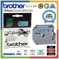 Brother P-Touch M-K521 M-TAPE 9 MM Mavi Üzerine Mat Siyah Termal Etiket