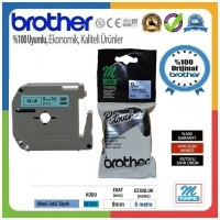 Brother P-Touch M-521 M-TAPE 9 MM Mavi Üzerine Siyah Termal Etiket