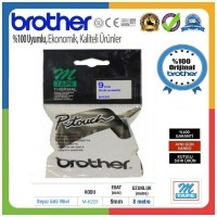 Brother P-Touch M-K223 M-TAPE 9 MM Beyaz Üzerine Mavi Termal Etiket