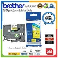 Brother P-Touch TZE-FX641 TZE-TAPE 18 MM Sarı üzerine Siyah Esnek Laminasyonlu Etiket