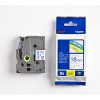 Brother P-Touch TZE-243 TZE-TAPE 18MM Beyaz üzerine Mavi Laminasyonlu Etiket