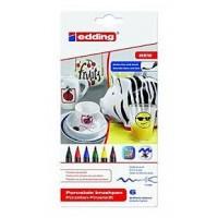 Edding 4200 Porselen Kalemi ~1-4 mm Fırça Uçlu Standart Karışık Renkli 6'Lı Set