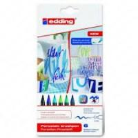 Edding 4200 Porselen Kalemi ~1-4 mm Fırça Uçlu Soğuk Karışık Renkli 6'Lı Set