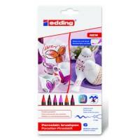 Edding 4200 Porselen Kalemi ~1-4 mm Fırça Uçlu Sıcak Karışık Renkli 6'Lı Set