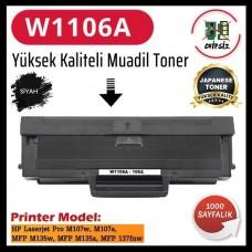 HP 106A Siyah Muadil Japanese Toner Kartuşu W1106A 1000 Sayfa (CHİPSİZ)