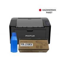 PANTUM P2500 Mono Laser Yazıcı A4 USB+ 8 Adet PA 200B V1 Refill Kit + 2 Adet PA 210EV Toner