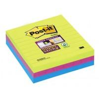 Post-it® 675 3SSMX EU Super Sticky Not, Neon Yeşil,  Fuşya, Akdeniz Mavisi , Çizgili 101x101mm, 70 yaprak 3 renk