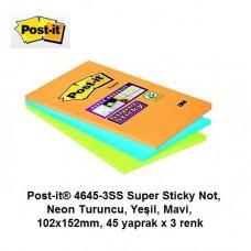 Post-it® 4645-3SS Super Sticky Not, Neon Turuncu, Yeşil, Mavi, 102x152mm, 45 yaprak x 3 renk