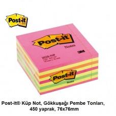Post-it® 2028-NP Küp Not, Gökkuşağı Pembe Tonları, 450 yaprak, 76x76mm