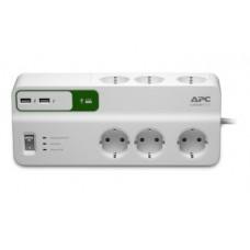 Schneider Apc PM6U-GR Akım Korumalı 6'li Priz, 2'Li USB