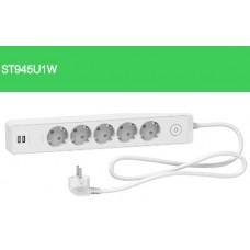 Schneider Unica ST945U1W Priz 5'Li 1,5 Metre Beyaz 2 USB
