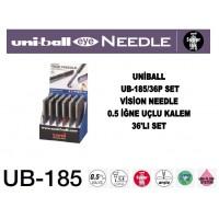 Uniball UB-185/36P Set Vision Needle 0.5 İğne Uçlu Kalem 36'Lı Set