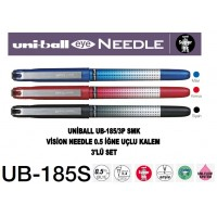 Uniball UB-185S/3P SMK Eye Needle 0.5 İğne Uçlu Kalem Siyah/Kırmızı/Mavi 3'Lü Set