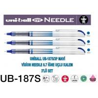 Uniball UB-187S/3P Mavi Eye Needle 0.7 İğne Uçlu Kalem 3'Lü Set