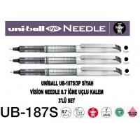 Uniball UB-187S/3P Siyah Eye Needle 0.7 İğne Uçlu Kalem 3'Lü Set
