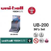 Uniball UB-200/3D Set Vision Elite 0.8 Roller Kalem 36'Lı Set