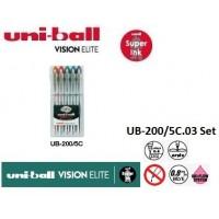Uniball UB-200/5C Set Mavi Vision Elite 0.8 Roller Kalem 5'Li Set